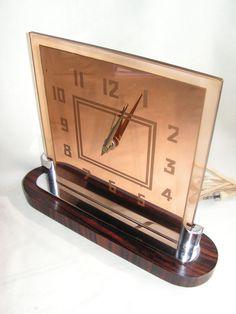 20s ART DECO ROSEWOOD PALMTAG DESK CLOCK CRYSTALGLASS REVERSE ETCHED MACHINE AGE
