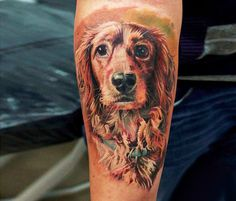 Dog portrait tattoo by Led Coult