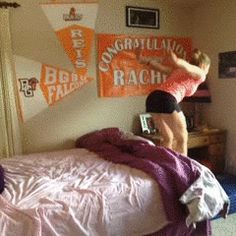 Girl flipping into her bed fail. Hilarious!