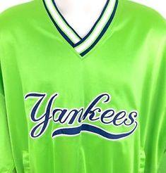 5f02ebf2c Vtg 90s Satin New York Yankees Mens Pullover Starter Jacket XL Retro Neon  Green