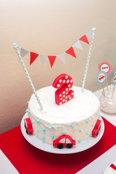 Car Themed Birthday Cake With Bunting 2 3rd Parties Boy