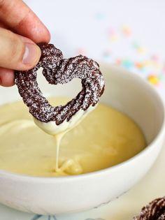 mini raspberry churro hearts
