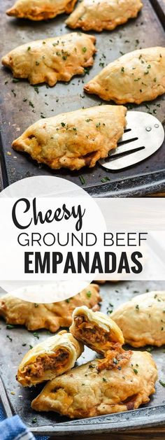 Cheesy Ground Beef Empanadas are a fun, easy, and filling meal that's great for dinner or for packing in school lunches! Cheesy Ground Beef Empanadas are a fun, easy, and filling meal that's great for dinner or for packing in school lunches! Fingerfood Recipes, Appetizer Recipes, Appetizers With Meat, Spanish Appetizers, Appetizer Dessert, Dessert Recipes, Party Appetizers, Party Snacks, Beef Empanadas