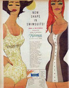 Helanca vintage swim suit ad 1961 bathing suit, swimwear advert