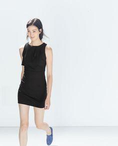 Image 2 of DRESS WITH ASYMMETRIC RUFFLE NECK from Zara Moda Zara, Vestidos Zara, Zara Fashion, Fashion Catalogue, Zara Dresses, Latest Trends, Clothes, Collection, Black