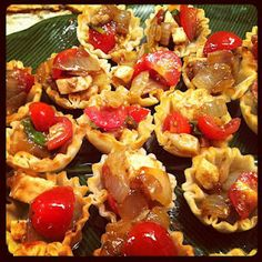 Caramelized Onion Caprese Salad in Filo Cups