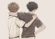 """soltreis: """"How does it feel, to have a childhood friend who comforts you by just existing, for as long as one can remember? Wattpad, Illustrations, Illustration Art, Sad Drawings, Volleyball Anime, Instagram Artist, Old Paintings, Childhood Friends, Poses"""