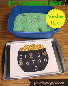 St. Patrick's Day Hunting for Gold Numbers Activity for Preschool via www.pre-kpages.com.  Just spray paint the magnetic numbers gold, and dye your rice green.  The pot with the numbers is a free download.