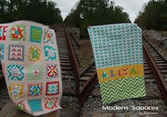 Modern Squares Quilt.    This is cute and doesn't look too difficult.  I love how the squares are all made differently (for the most part).