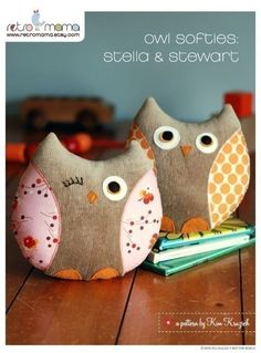 "sweet plush owls. several options to personalize your owl face. Finished owl measures approximately 7"". MUST GET FOR THE BFF"