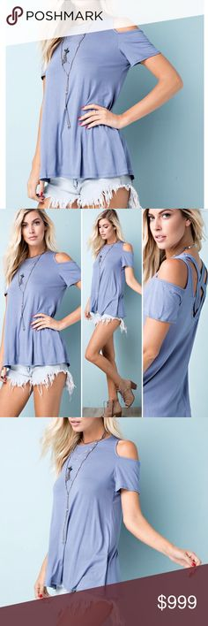 """🇺🇸 Premium Bamboo Short Sleeve Cold Shoulder Tee BUST: Small 18"""", Medium 19"""", Large 20"""" (flat pit to pit)  Made in the USA 🇺🇸  96% BAMBOO, 4% SPANDEX  PREMIUM BAMBOO KNIT COLD SHOULDER TOP FEATURES PLUNGING BACK WITH CRISS CROSS DETAIL  Browse my closet and bundle items for a discount!  (Internal inventory code YAD) 143 Story Tops Tees - Short Sleeve"""