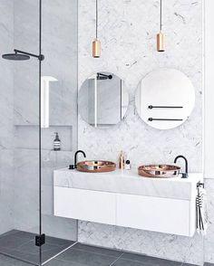 Marble fish scale tile backsplash in the bath- gorgeous!