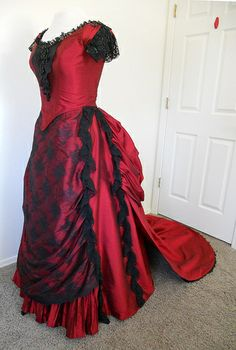 victorian ball gown | Red Silk Victorian Style Bustle Ball Gown