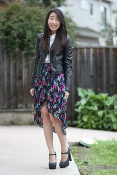 leather jacket asymmetrical skirt