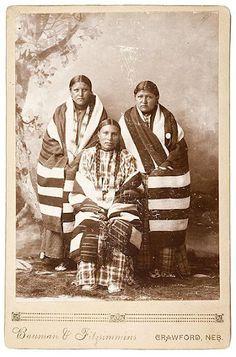 Oglala women wrapped in Navajo blankets - circa 1890