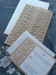 Invitación de la boda corte láser hojas malla por CelineDesigns