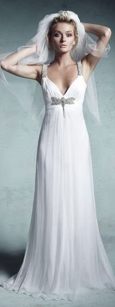 Collette Dinnigan Bridal Gown with Beaded Straps and Dragonfly Empire Line Silk