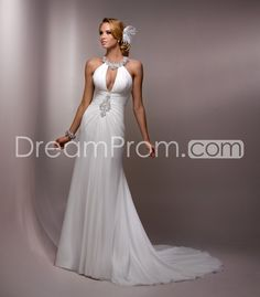 Fashion Sheath/Column Halter Floor-length  Chapel Beaded Wedding Dresses