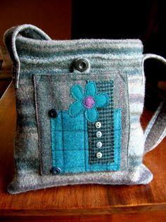 fiber textile art purse by Lydia L. Dierwechter