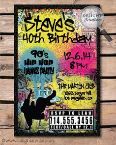 90s Hip Hop Graffiti Birthday Invitations! [DI-464] : Custom Invitations and Announcements for all Occasions, by Delight Invite