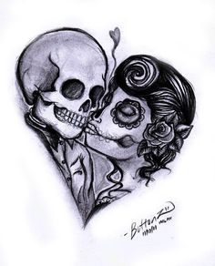 Day of the dead married couple til death do us part tattoo idea.