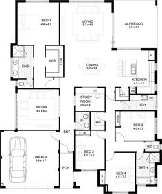 Jm like the master and g as rage entry Ensuite/wir single storey home designs Best House Plans, Dream House Plans, Small House Plans, House Floor Plans, 4 Bedroom House Plans, Home Design Floor Plans, Storey Homes, House Blueprints, Sims House