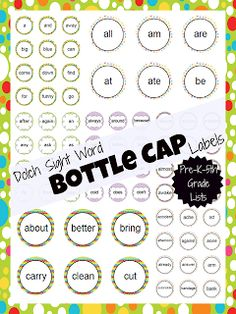 Dolch Sight Word Bottle Cap Labels