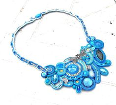 Statement Necklace Blue Soutache Jewelry by IncrediblesTN on Etsy, $259.00
