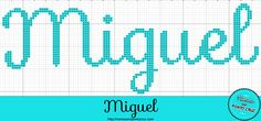 Nome Miguel em Ponto Cruz Cross Stitching, Cross Stitch Embroidery, Boy Names, Logos, 35, Wallpaper, Disney, Photography, Cross Stitch Alphabet