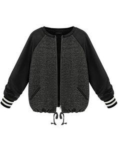 Grey Contrast PU Leather Long Sleeve Zipper Coat US$33.61