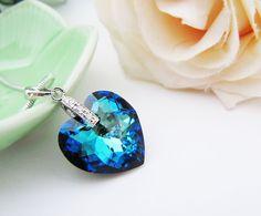 Wedding Jewelry Bridesmaid Necklace Bridal Necklace Cubic zirconia bail with bermuda blue Heart Swarovski Crystal Necklace Bridesmaid Gifts via Etsy