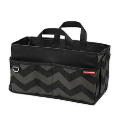 Skip Hop On The Go Car Storage Box. This storage box is a versatile and stylish way to stay organized while on the road. The chic chevron print and fashionable faux leather trim coordinate with any car interior. You'll love to have this car organ Car Storage Box, Toddler Car, Toddler Travel, Car Seat Accessories, Car Trunk, Toys R Us Canada, Kids Seating, Black Chevron, Buy Buy Baby