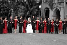 black and red themed wedding.