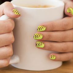 Yellow softball ball nail art #cute #nailart