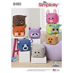 "Make a whole collection of 8"" felt stuffed cube animals. Patterns and instructions included to help you create a raccoon, fox, squirrel, bunny, beaver, bear, deer and owl faces. Carla Reiss Design for Simplicity sewing patterns."