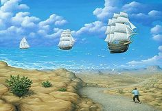 Inspired from an early age artist Robert Gonsalves has been creating these mind bending optical illusion paintings. It's almost as though the viewer has to jump between different worlds within one painting. These will totally mess with your head! Optical Illusion Paintings, Amazing Optical Illusions, Illusion Kunst, Illusion Art, Canadian Painters, Canadian Artists, Robert Gonsalves, Rene Magritte, Magic Realism