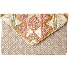 Sasha Beaded Aztec-Woven Envelope Clutch ($20) ❤ liked on Polyvore featuring bags, handbags, clutches, white, chain handbags, envelope clutch bags, woven purse, beaded clutches and faux-leather handbags