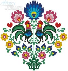 Polish Folk Design with Roosters - Cross Stitch Chart : Artecy Cross Stitch Shop, Quality Cross Stitch Patterns to print online. Folk Embroidery, Learn Embroidery, Vintage Embroidery, Cross Stitch Embroidery, Embroidery Patterns, Hungarian Embroidery, Indian Embroidery, Rooster Cross Stitch, Counted Cross Stitch Patterns