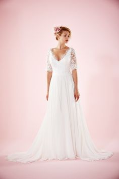 Maud Wedding dress with lace V neckline and 3/4 sleeves | Charlotte Balbier Willa Rose Bridal Collection | http://www.rockmywedding.co.uk/introducing-charlotte-balbiers-willa-rose-collection/