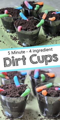 Dirt cups with gummy worms dirt cup recipe dessert springtreat summertreat dirtcup chocolate banana split pudding cups Halloween Desserts, Hallowen Food, Halloween Food For Party, Scary Halloween Treats, Köstliche Desserts, Delicious Desserts, Yummy Food, Dirt Cups, Halloween Recipe