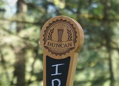 Beer Tap Handle with Chalkboard-Outdoor Edition Cool Wood tap with Laser Engraved Sides and Full Color Logo.