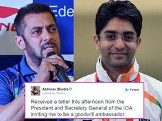 After Salman Khan IOA announces Abhinav Bindra as the Indian Goodwill ambassador for The Rio Olympics 2016!