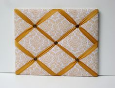 Art Deco styled French Memo Board, Romantic, Photo Memory Board in cream and gold Damask via Etsy.
