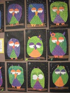 for grade Secondary Color Owls.cute idea, but I would have the kids cut out their own shapes, etc. Fall Art Projects, Classroom Art Projects, School Art Projects, Art Classroom, Halloween Art Projects, Halloween 1, First Grade Art, 2nd Grade Art, Grade 2