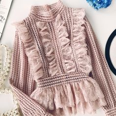 Sweet Hollow Lace Ruffled Shirts Stand Collar Spliced Lace Pleated Blouses Lotus Decor MultiLayers Long Sleeved Ol Tops color Pink size One Size Ruffle Shirt, Lace Ruffle, Stylish Dresses, Fashion Dresses, England Mode, Mode Kimono, Look Fashion, Womens Fashion, Le Polo
