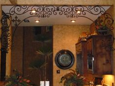 Custom scroll work around walls with crosses and fleur de lis. Old World, Tuscan, French Country, Traditional, Hacienda, Spanish style home decor. Hand made and hand finished.