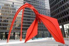 """"""" Flamingo """" 1973 outdoor 'stabile' sculpture by Alexander Calder. Size: 53 feet high Located at Federal Plaza, Chicago_Illinois"""