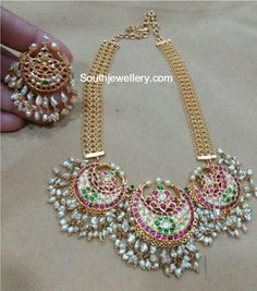 Kundan Pearl Necklace and Chandbalis