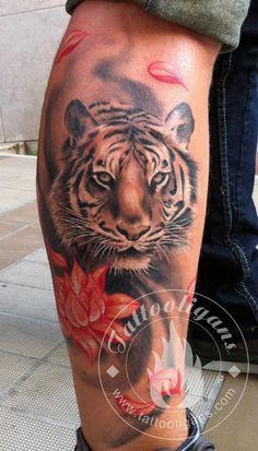 Tiger tattoo by greek artist Yiannis Agios