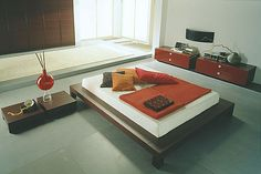 modern japanese inspired bedroom.